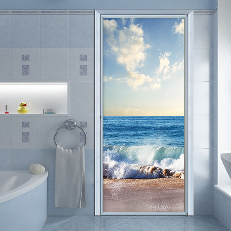 3D Beach Seaside Landscape Door Sticker Living Room Bathroom Self-Adhesive Waterproof Wall Sticker Door Poster Home Decor Decals
