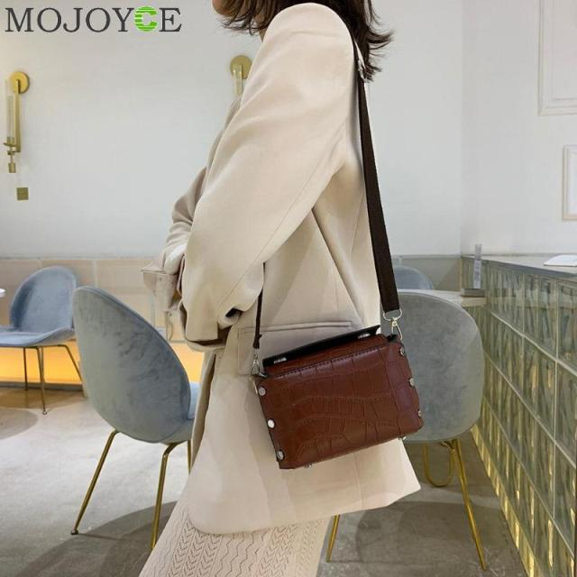 Crocodile Pattern Mini Messenger Bag Women PU Leather Retro Rivet Handbag Classic Ladies Shopping Purse