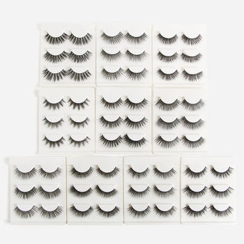 3 Pairs Natrual Mink Eyelashes,CLOTHOBEAUTY 3d Mink Hair Lashes Thick Long Handmade soft Eyelashes Extension in bulk Wholesale