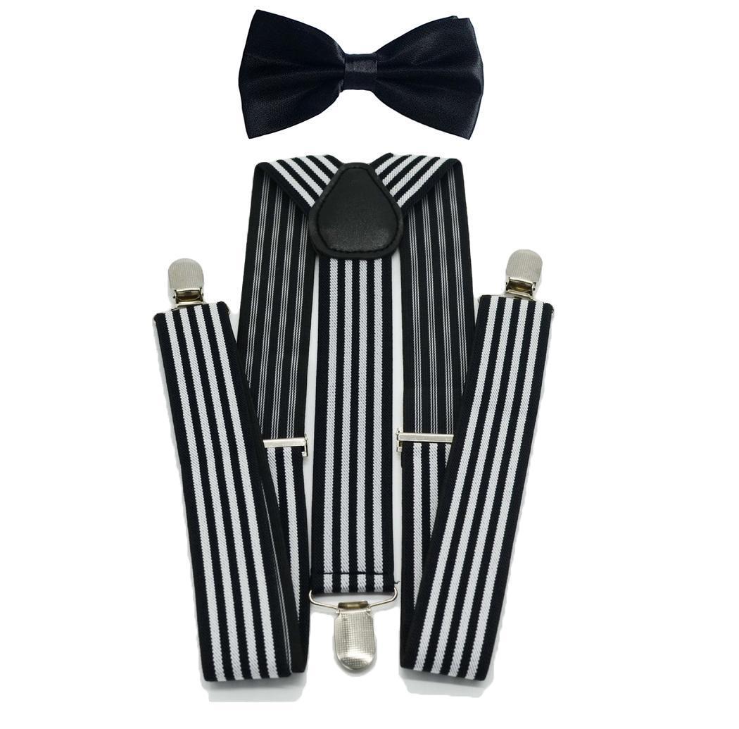 Men's Bow Tie Suspenders Set Adjustable Boy Bowtie For Wedding Black White Birthday Party