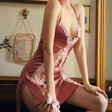 Seksi çiçek ipek gecelik yaz ince Sling dantel açık çatal uyku elbise delikli cilveli bayan gecelik pijama