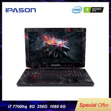 IPASON 15,6 zoll IPS Gaming Laptop intel i7 7700HQ GTX1060 6G RGB 8GB 16GB RAM DDR4 256GB 512GB SSD Gaming Notebook Computer