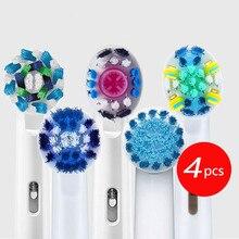 Oral B зубная щетка 4 шт./упак. для Электрическая вращающаяся зубная щетка для чистки зубов ультразвуковая зубная щетка насадки для зубной щетк...