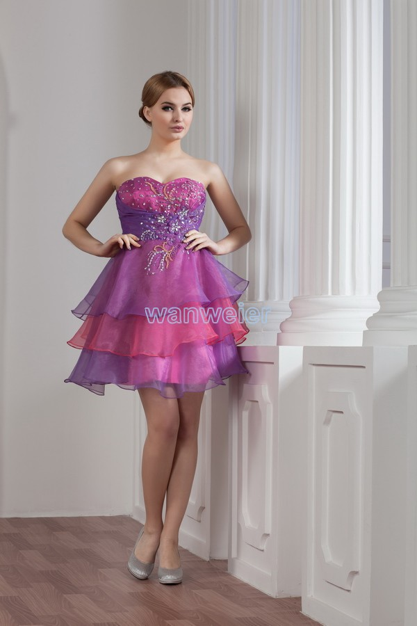 Free Shipping 2016 Provence Style New Design Beading Short Formal Gown Custom Size/color Special Occasion Dress Sexy Prom Dress