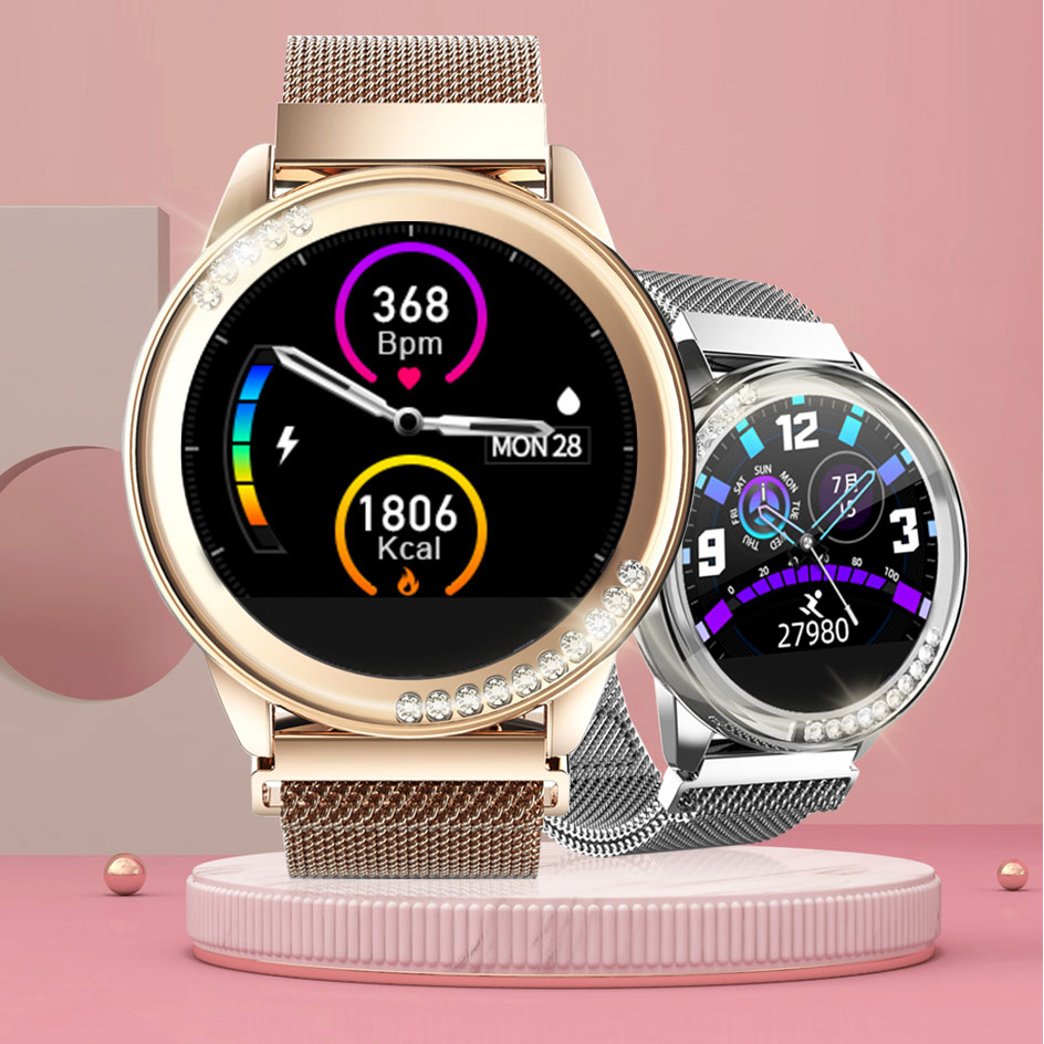 H16 Smart Watch Women dress Heart Rate Blood Pressure Monitor touch screen Waterproof Lady Smartwatch for Android IOS VS KW10|Smart Wristbands| |  - title=