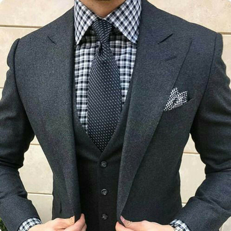 2020 Dark Grey Three Piece Men's Cashmere Formal Suits Wool Blend Peak Lapel Two Button Busniess Party Prom Tuxedo