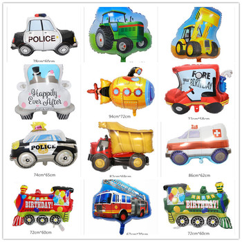 10PCS party decoration cartoon car fire truck aluminum film train balloon Globos children gift birthday party decoration balloon image