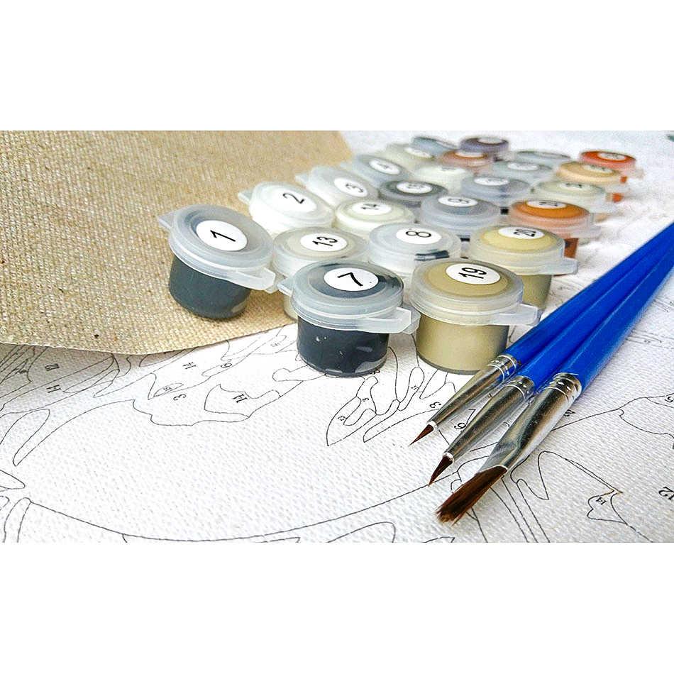 CHENISTORY ภาพ Frameless ภาพวาด DIY โดยตัวเลขดอกทานตะวันดอกไม้ Wall Art Picture By Number ตัวอักษรและภาพวาด