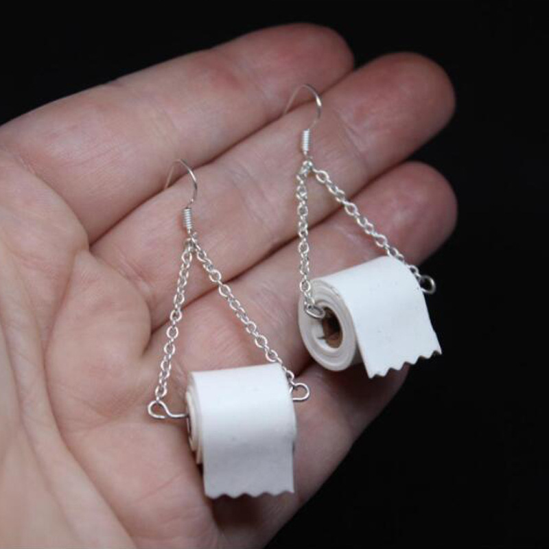 AENSOA Unique Design Toilet Paper Tissue Leather Earrings 2020 Fshion Personality Roll Paper Drop Earring Jewelry Wholesale New