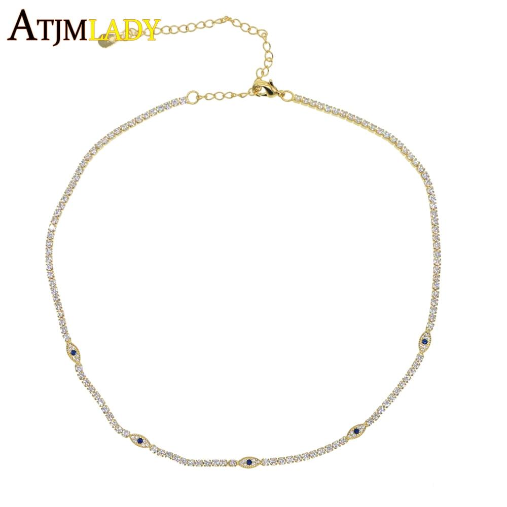 2019 lucky jewelry minimal delicate cz Turkish evil eye charm dainty choker collarbone adorable women girl tennis chain necklace