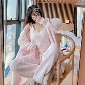 Winter 3-piece Women's Pyjamas Set Upscale Sleepwear Thick warm Feather Yarn Home Clothes Robe+Sleep Tops+Long Pants Nightwear