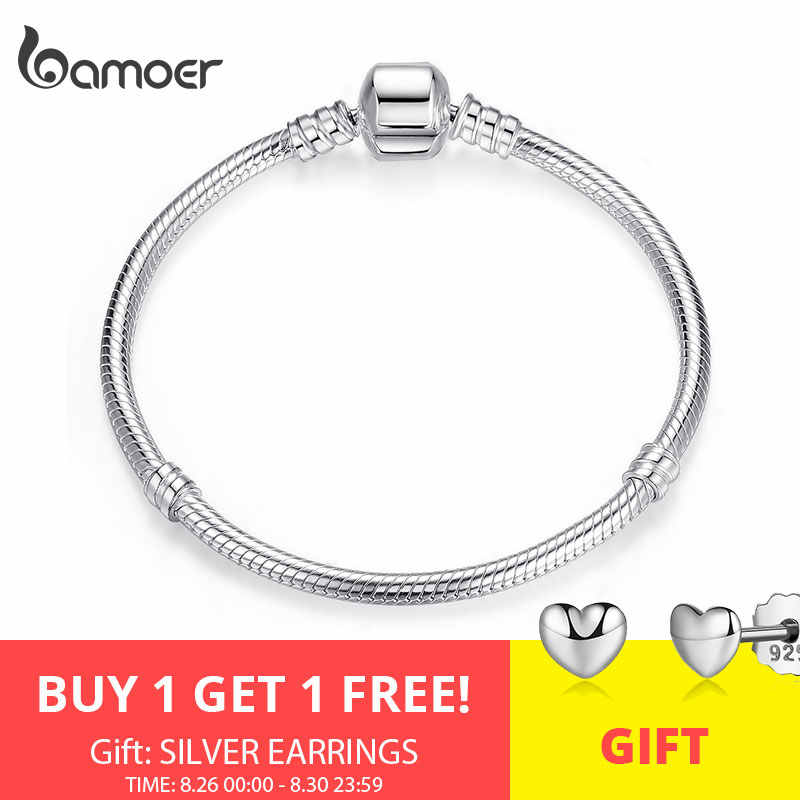 BAMOER Natal VENDA Authentic 100% 925 Sterling Silver Cobra Cadeia Bangle & Bracelet para As Mulheres Jóias de Luxo 17-20CM PAS902