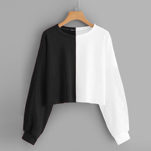 Black and White Stitching Cropped Womens Solid Long Sleeve Splice Sweatshirt Short Pullover Hooded Women Tops Streetwear