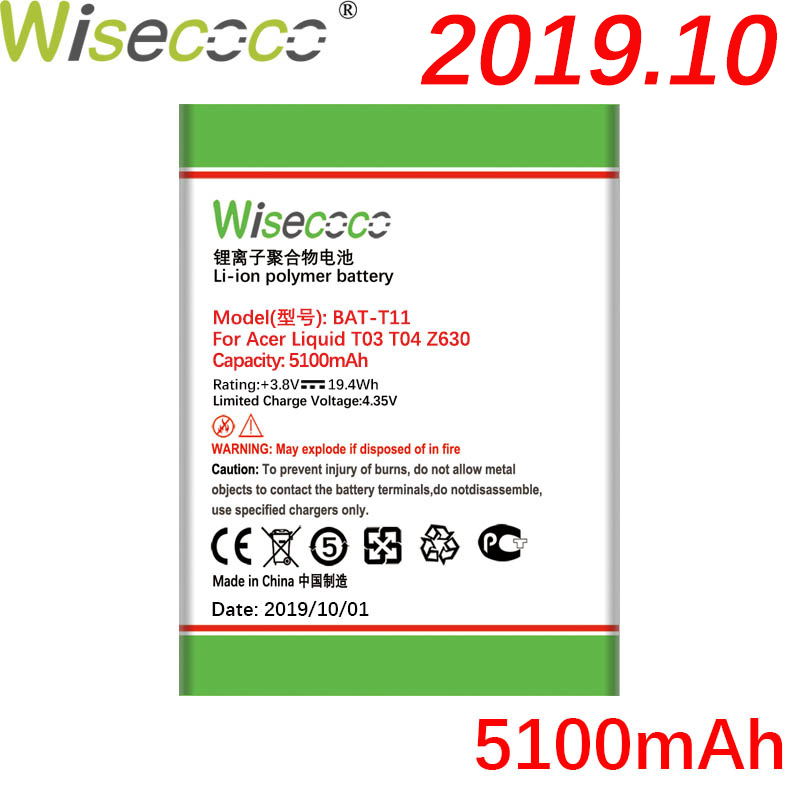 Wisecoco BAT-T11 (1ICP4/68/88) <font><b>5100mAh</b></font> Newly Produced Battery For ACER Liquid T03 T04 Z630 Z 630 Phone Battery Replacement image