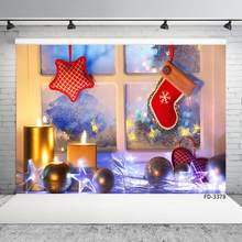 Levoo Flannel Fireplace Christmas Tree Background Banner Photography Studio Child Baby Birthday Family Party Christmas Holiday Celebration Photography Backdrop Home Decoration 5x5ft,chy675