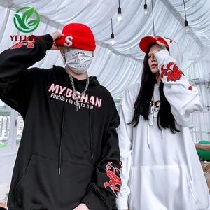 Image 2 - 2019 Thu Đông Phong Cách Nhật Bản Ca Sĩ Khoai Môn Hoa Áo Hoodie Nam Nữ Hip Hop Lớn Cotton Retro Thời Trang Áo