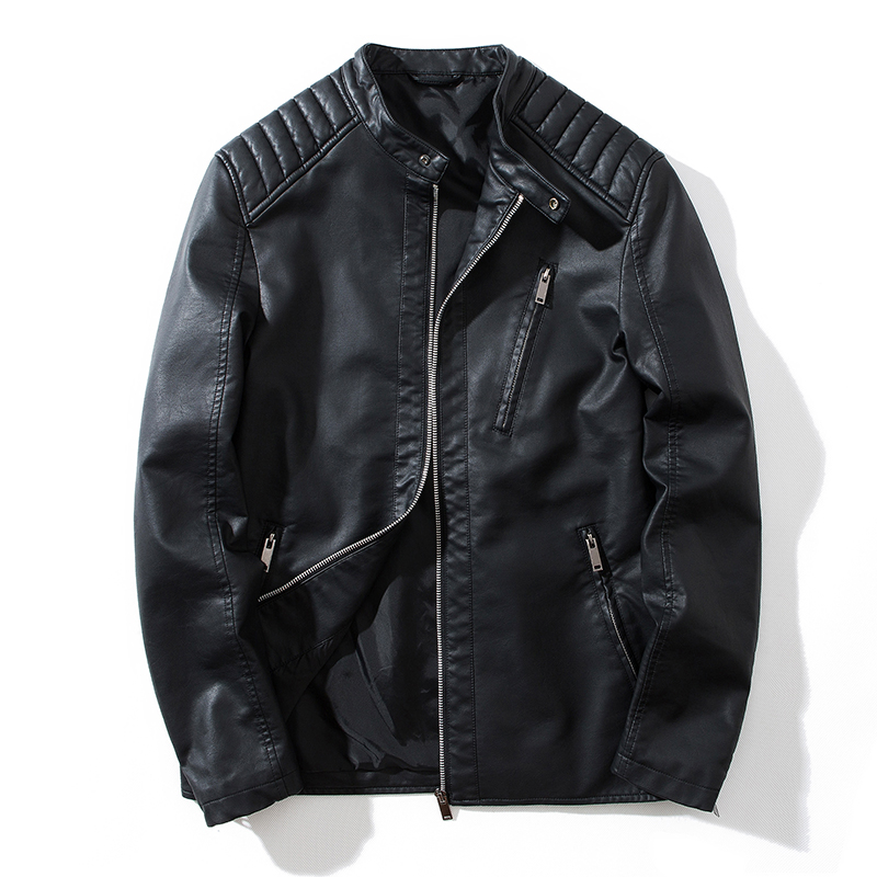 Leather Jacket Slim Solid Color Men Fur Coat Motorcycle PU Casual Slim Fit Outwear Male Black Clothing Plus Size M-5XL ,GA541