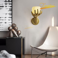 nordic creative copper led wall lamp lighting modern palm glass wall lamp restaurant will bring you furniture wall lamp lighting New Chinese LED Full Copper Wall Lamp Lighting Golden Creative Hand Glass Wall Lights for Bedroom Hotel Living Room Wall Lamps