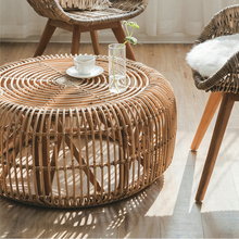 Coffee-Table Living-Room Rattan Round Minimalist-Style Modern Real Hand-Woven Size-L