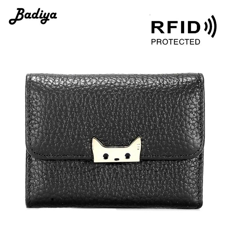 Genuine Leather Women Wallets Multifunction RFID Clutch Bag Short Organ Coin Pocket Retro Fashion Female  Document Card Holder