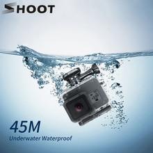 SHOOT 45M funda impermeable subacuática para GoPro Hero 7 6 5 negro Cámara de Acción funda Carcasa protectora para Go Pro 7 6 5 accesorio