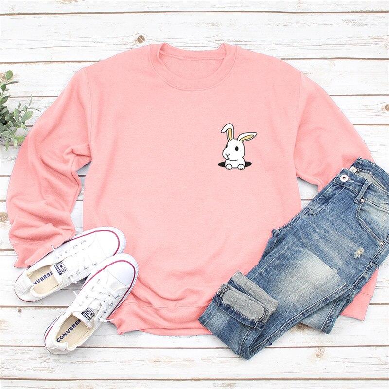 Autumn Lovely Rabbit Print Pink Women Hoodie Long Sleeve Pullover Sweatshirt O-NECK Women Clothes Harajuku Hoodies Casual Tops