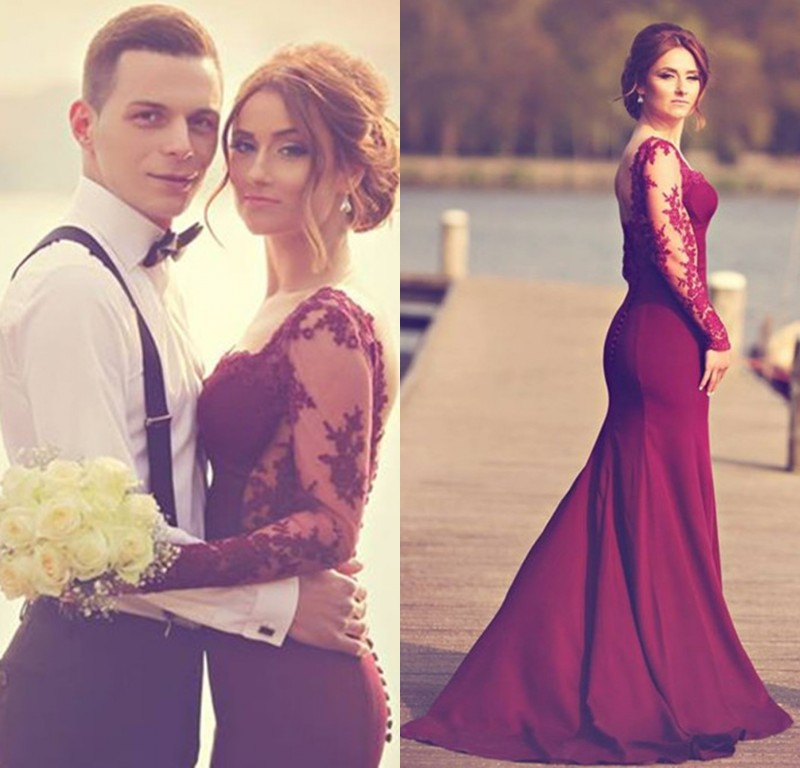 Custom Made Long Sleeve Lace Burgundy Prom Hot Sale Long Mermaid Evening Party 2018 For Graduation Mother Of The Bride Dresses