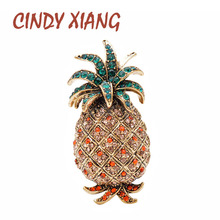 CINDY XIANG Vintage Rhinestone Pineapple Brooches For Women Fashion Fruit Pins Autumn Winter Design Jewelry Coat Accessories