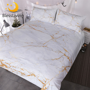 Image 1 - BlessLiving Gold and White Marble Bedding Set 3 Piece Nature Inspired Abstract Toned Home Textiles Old Fashion Rock Duvet Cover