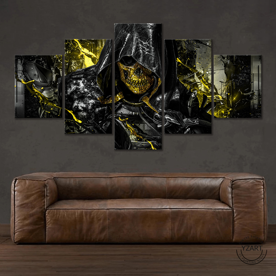 5 Piece Death Stranding Higgs Skull Mask HD Game Poster Canvas Painting Bedroom Living Room Decoration 3