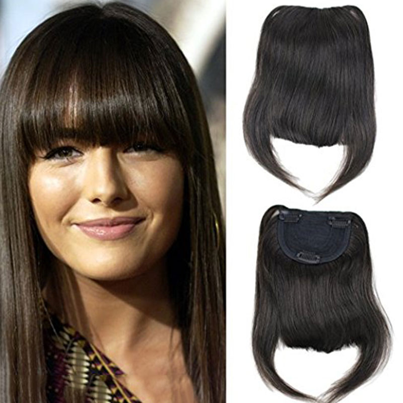 Brazilian Human Hair Clip In Hair Blunt Bangs Full Fringe Short Straight Hair Extension For Women 100% Virgin Hair 6-8inch