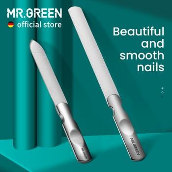 Двусторонние пилки MR.GREEN из нержавеющей стали для маникюра и педикюра, профессиональные инструменты для ухода за ногтями