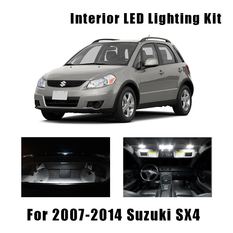 9pcs White Canbus Car LED Bulbs Interior Map Dome Light Kit Fit For 2007-2013 2014 Suzuki SX4 WK Trunk Cargo License Plate Lamp
