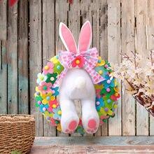 2021 nuovo coniglietto pasquale decorazione ghirlanda coniglio divertente cartone animato ornamenti animali porta finestra fai da te appeso ghirlanda decorazioni per la casa