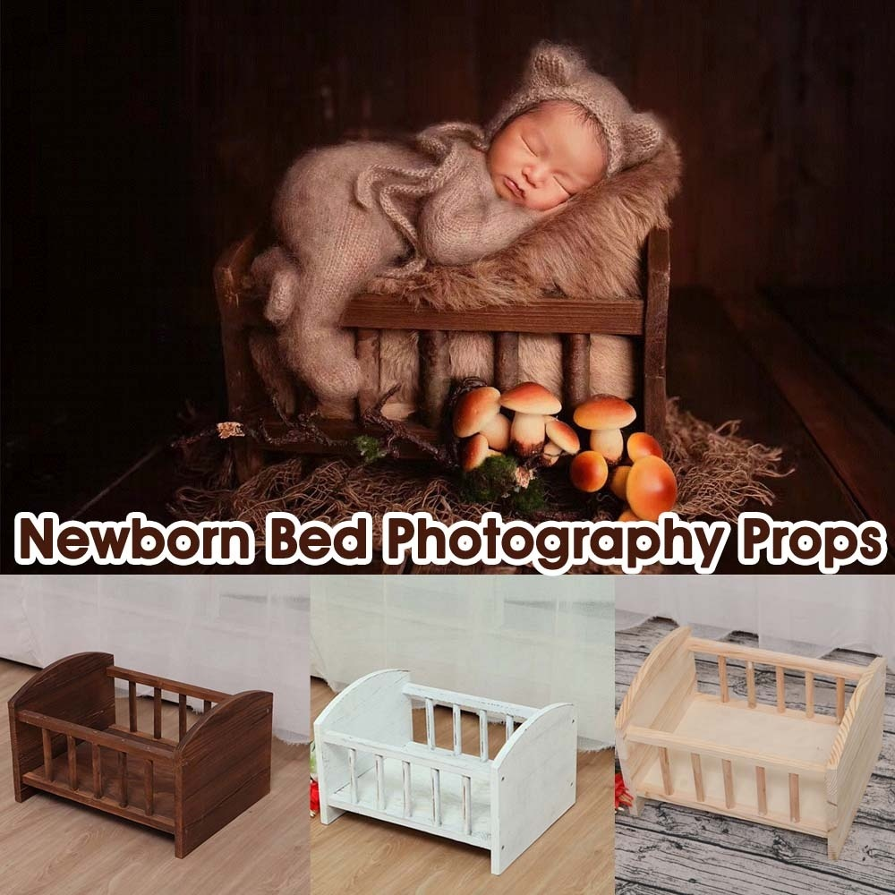 39x30x25cm Wood Color/Brown /White Newborn Photography Props Retro Wooden Bed Baby Studio Photography Background Cribs