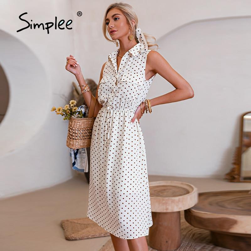 Simplee Elegant polka dot pocket sleeveless dress summer French style sash women dresses spring Casual office
