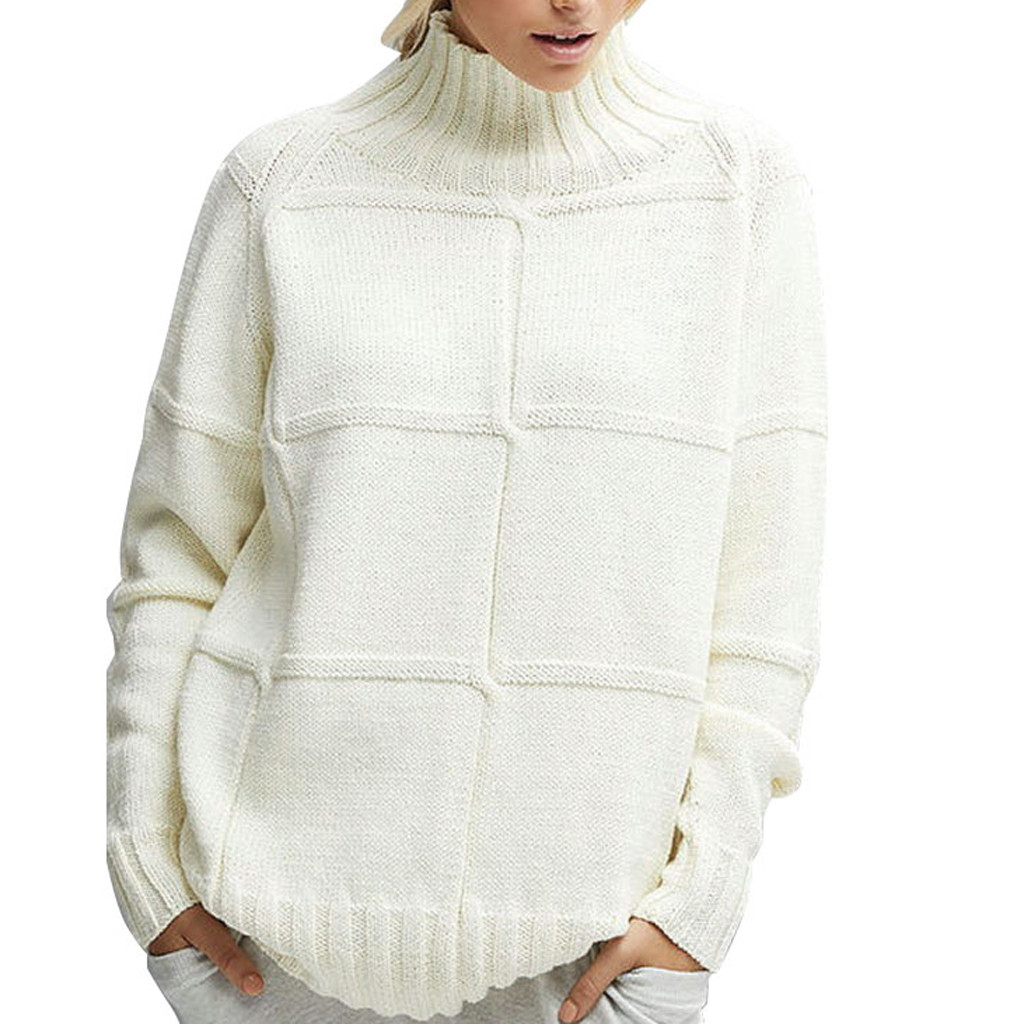 Fashion Boutique Ladies Round Neck Solid Color long-sleeved Pullover Sweater Comfortable Simple To Wear Outside Sweater White