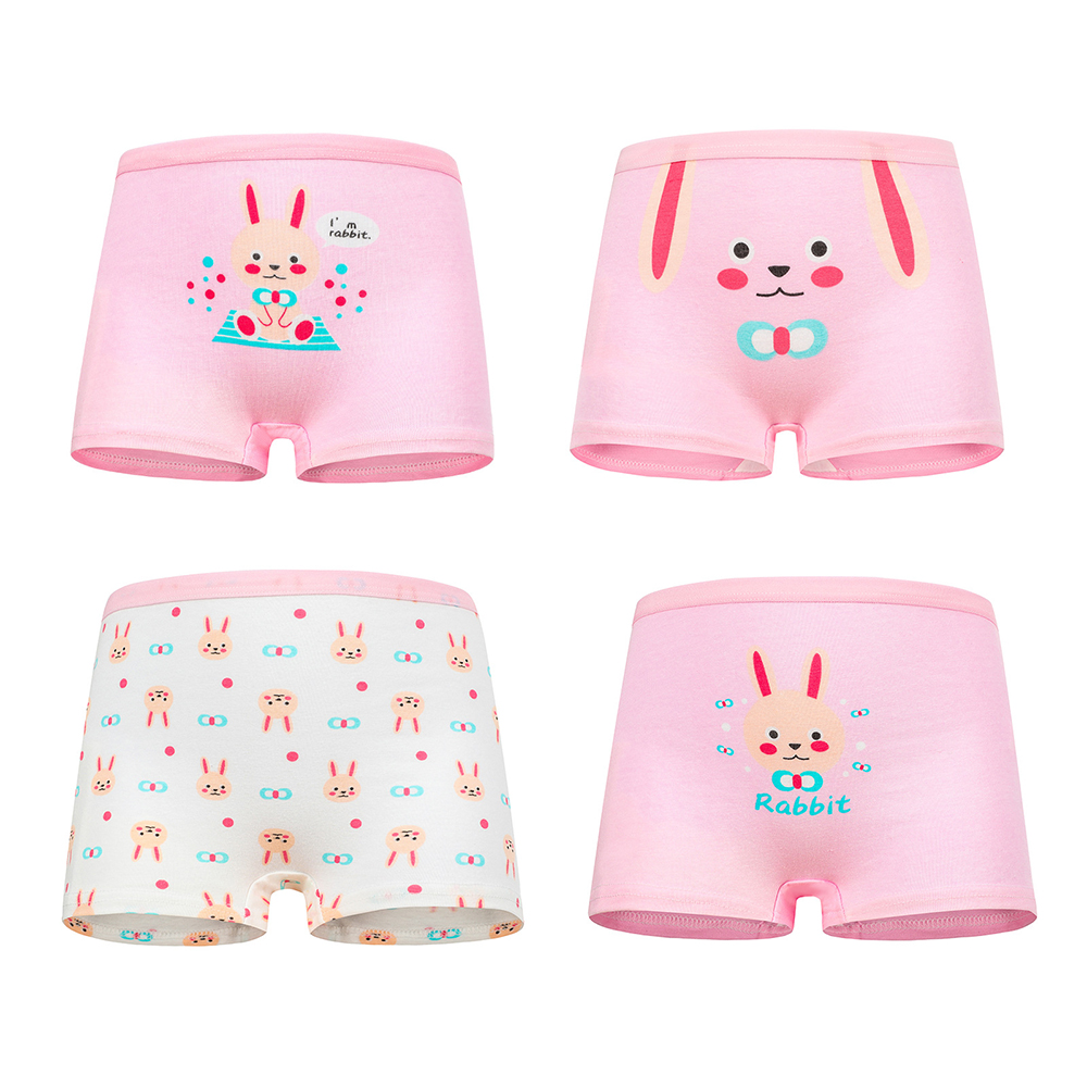 4 Pcs High Quality Pure Cotton Soft Children Underwear Girls Panties Cute Pattern Kids Boxer Briefs Child Girl Pants 2-12 Years 6