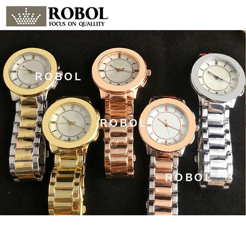 RLLEN Stainless Steel Men Women Couples Quartz Watches Fashion Luxury Jewelry Gift Generous Exquisite Elegant Noble