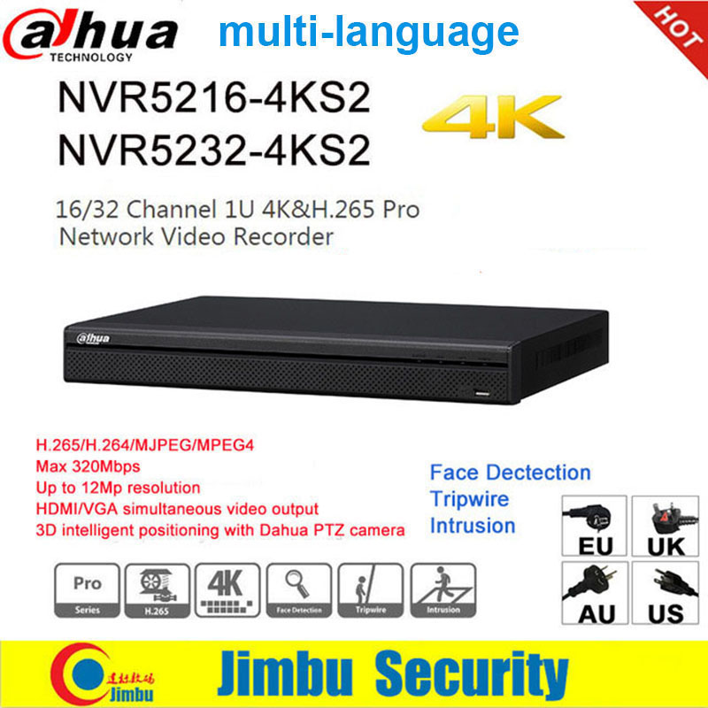 <font><b>Dahua</b></font> NVR 4K H.265 H.264 video recorder NVR5216-4KS2 16CH NVR5232-4KS2 32CH For <font><b>IP</b></font> <font><b>Camera</b></font> up to <font><b>12Mp</b></font> resolution DVR P2P image