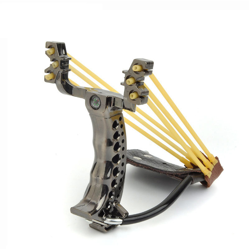Powerful Hunting Slingshot With 2 Rubber Band Tubing Catapult Professional Tactical Pocket Target Sling Shot Ball