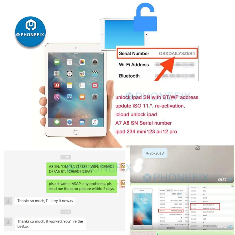 עבור iPad מספר סידורי עבור iPad mini 1 2 3 4 iPad אוויר 1 2 iPad פרו מספר סידורי WiFi כתובת Bluetooth עבור iPad iCloud נעילה
