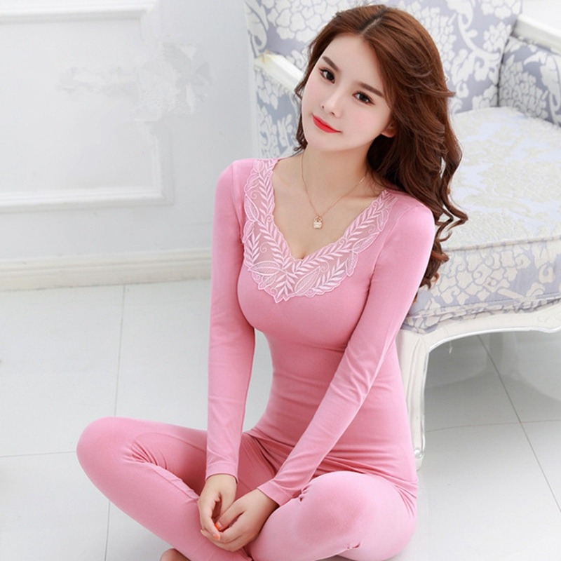 Autumn Winter Cotton Thermal Sexy Lace Lingerie Underwear Sets For Women Long Sleeve Warm Body Shaper Pajamas Sleepwear Bodysuit