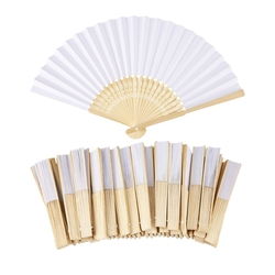50 шт./лот белый складной элегантный бумажный ручной вентилятор Свадебная вечеринка Сувениры 21 см (белый)