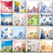 Flower Butterfly Cushion Cover Throw Pillow Covers  Pillow Covers Decorative  Cojines Decorativos Para Sofa  Home Decor Flocked home decorative sofa throw pillows plush solid color cushion pillow cojines decorativos para sofa pillow covers