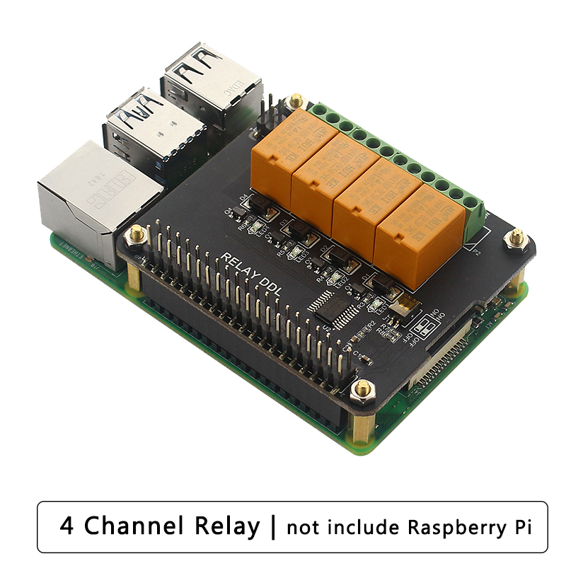 Raspberry Pi 4B/3B+/3B 4 Channel Relay Extension Board 4 Way Control Relay Module For IO Application Smart Home
