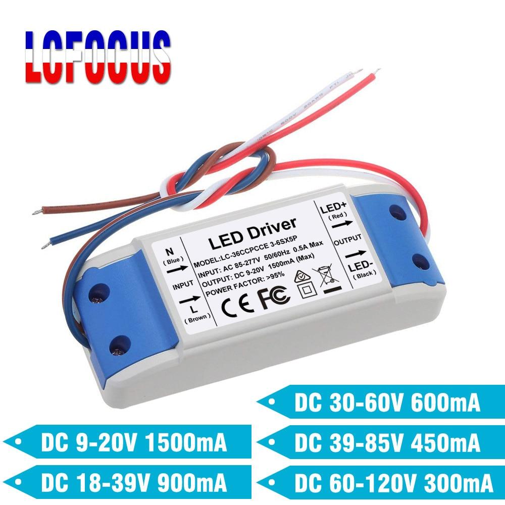 LED Driver Constant Current 300mA 450mA 600mA 900mA 1500mA Lighting Transformers 20 24 30 36 50 W Watt Power Supply