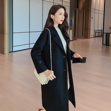 2019 Autumn Winter New Korean Women's Red Loose Long Coat Fashion Wool Blends Jacket Women Elegant Jackets Coats Blend Black Top new women long coat and jacket autumn winter elegant women wool coats long jackets korean version slim trench coat with straps