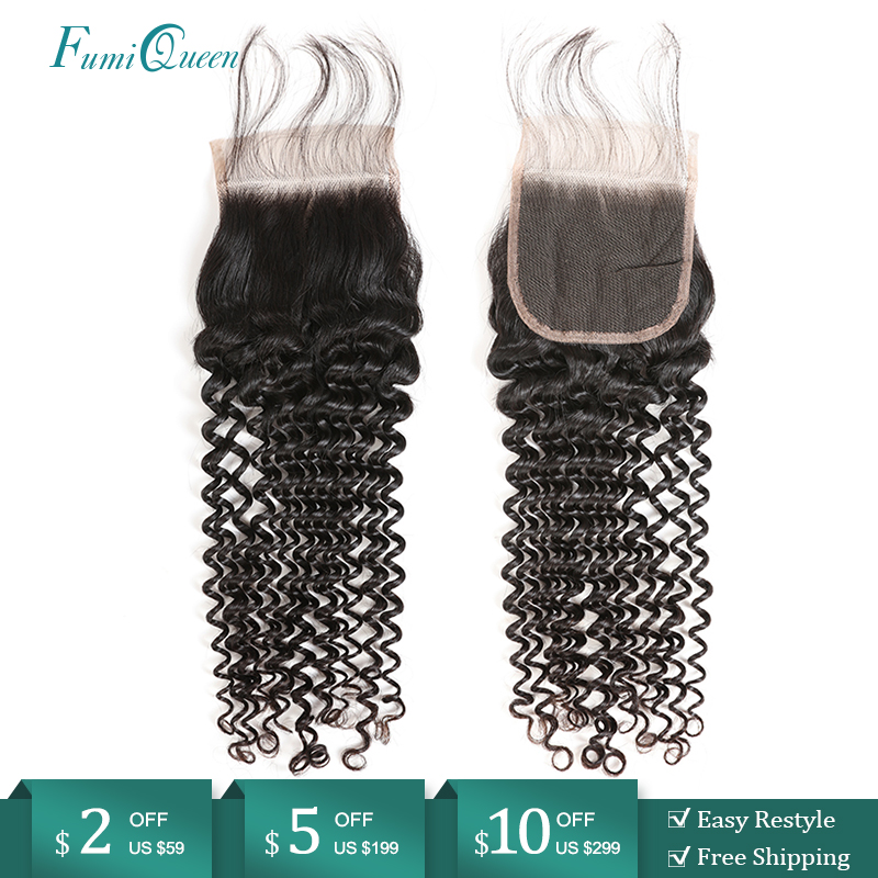 Ali FumiQueen Hair Closure Brazilian Deep Wave Human Remy Hair Lace Closure With Baby Hair 10