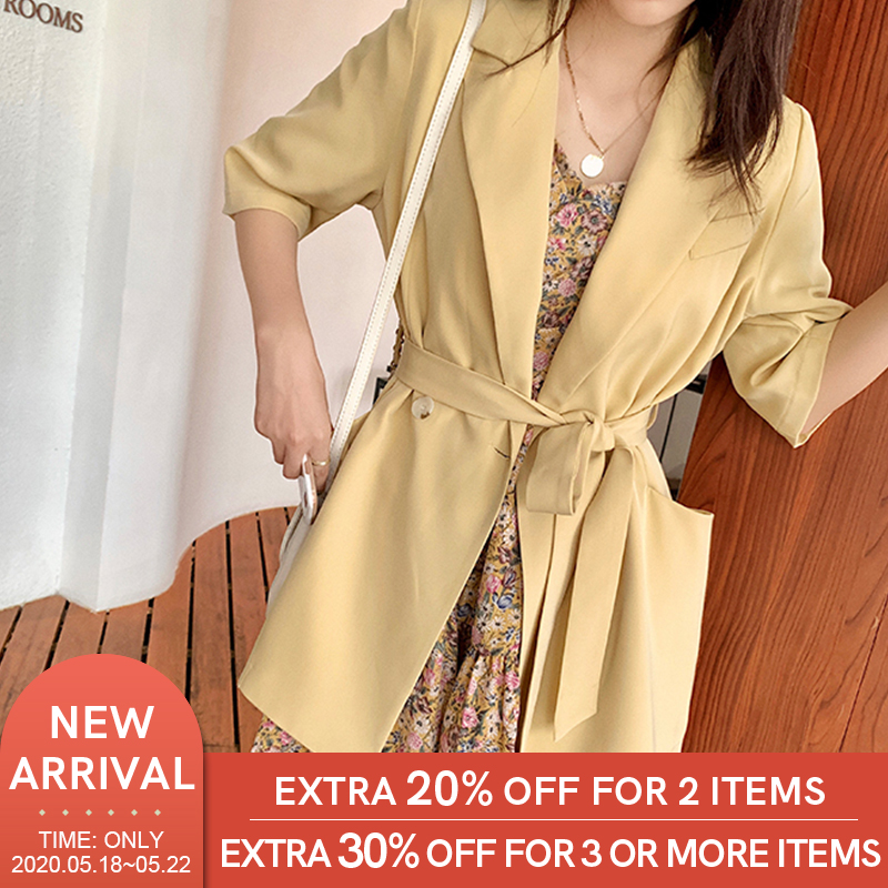 MISHOW 2020 Spring Summer Women's Blazers New Fashion Jackets Bandage Outerwear Office Lady Solid Cardigan Tops MX20B6901